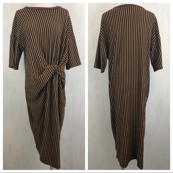 9996fa61 Zara Dresses | Knit Front Striped Knit Dress M 0129 | Poshmark